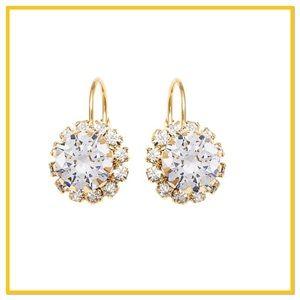 Crystal & Gold Flower Huggie Earrings